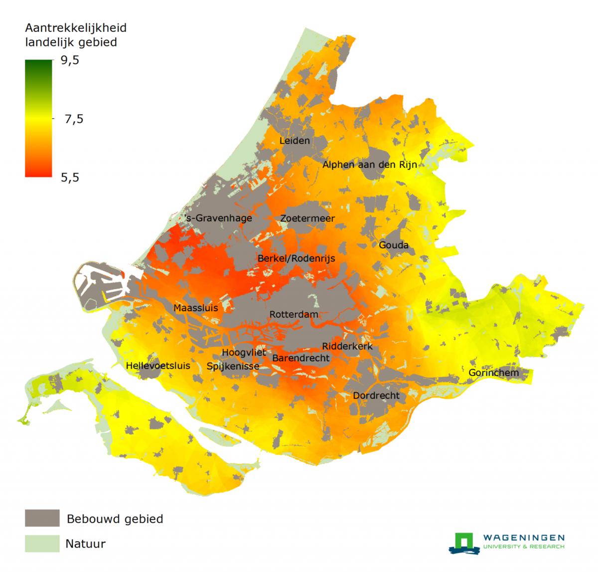 Waardering landelijk gebied en de eigen woonomgeving in Zuid-Holland het laagste van Nederland